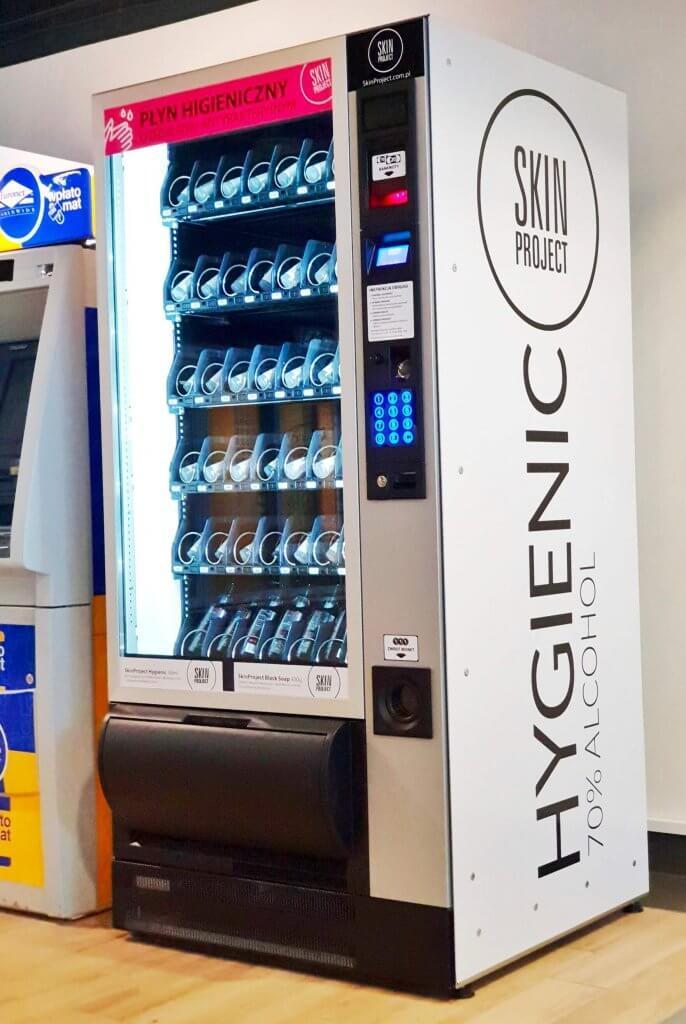 Automat ze środkami do higieny marki SkinProject